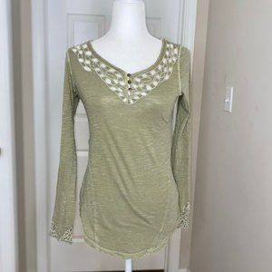 Free People BoHo Long Sleeve Green Embroidered Top